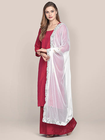 Dupatta Bazaar Woman's White Chiffon Dupatta with Mirror Work. - Dupatta Bazaar