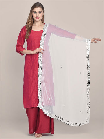 White Chiffon Dupatta with Mirror Work on Border.