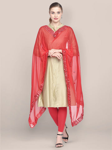 Dupatta Bazaar Woman's Red Chiffon Dupatta with Mirror Work. - Dupatta Bazaar