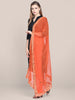 Orange Chiffon Dupatta with Mirror Work.