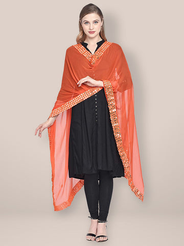Dupatta Bazaar Woman's Orange Chiffon Dupatta with Mirror Work. - Dupatta Bazaar