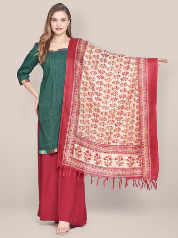 Dupatta Bazaar Women's Printed Red & Cream Art Silk Dupatta - Dupatta Bazaar