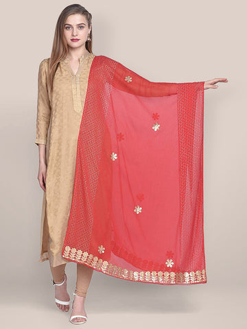 Dupatta Bazaar Woman's Red Chiffon Dupatta with Gotta Work - Dupatta Bazaar