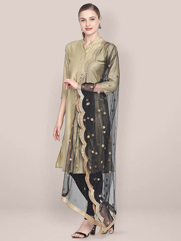 Dupatta Bazaar Woman's Embellished Black Net Dupatta with Scallops. - Dupatta Bazaar