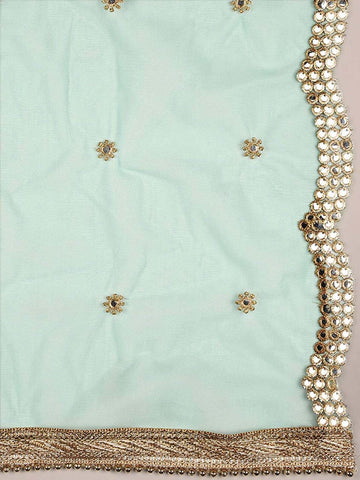 Dupatta Bazaar Woman's Embellished Sea Green Net Dupatta with Scallops. - Dupatta Bazaar