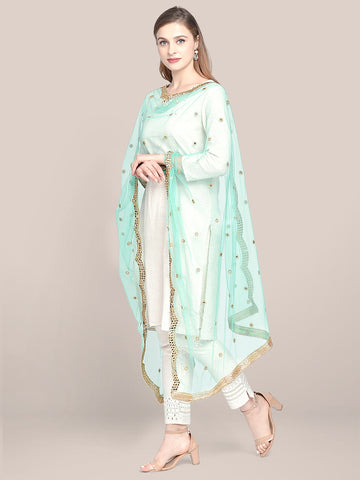 Embellished Sea Green Net Dupatta with Scallops.
