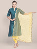 Embellished Yellow Net Dupatta with Scallops.