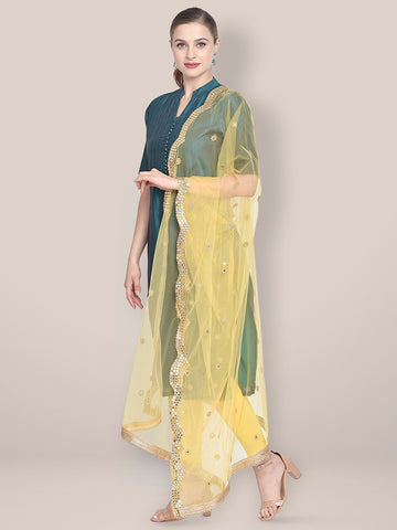 Dupatta Bazaar Woman's Embellished Yellow Net Dupatta with Scallops. - Dupatta Bazaar