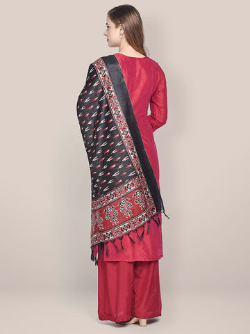 Dupatta Bazaar Women's Printed Black & Red Art Silk Dupatta - Dupatta Bazaar