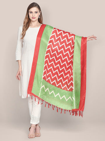 Dupatta Bazaar Women's Printed Red & Green Art Silk Dupatta - Dupatta Bazaar