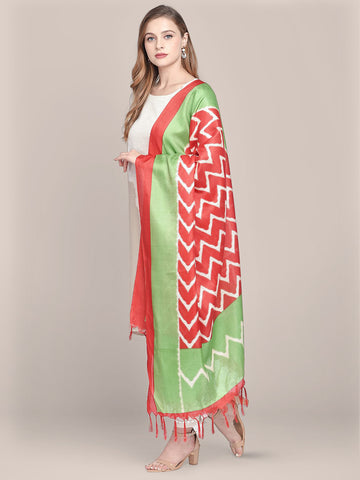 Dupatta Bazaar Women's Printed Red & Green Art Silk Dupatta