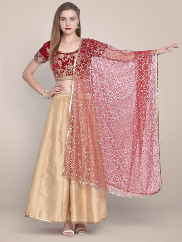 Embellished Red & Gold Net Dupatta
