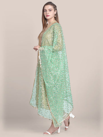 Embellished Sea Green & Gold Net Dupatta