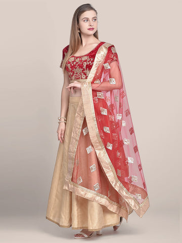 Red & Gold Embellished Net Dupatta