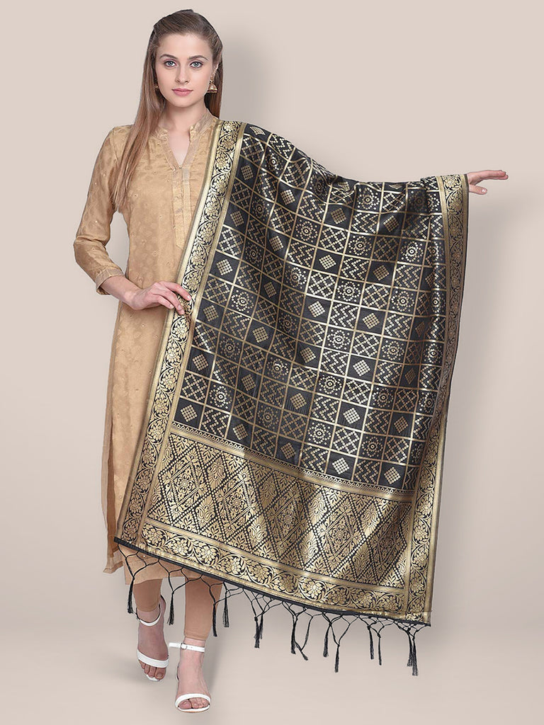 Dupatta Bazaar Woman's Black Banarasi Silk Dupatta with Bhandej design.
