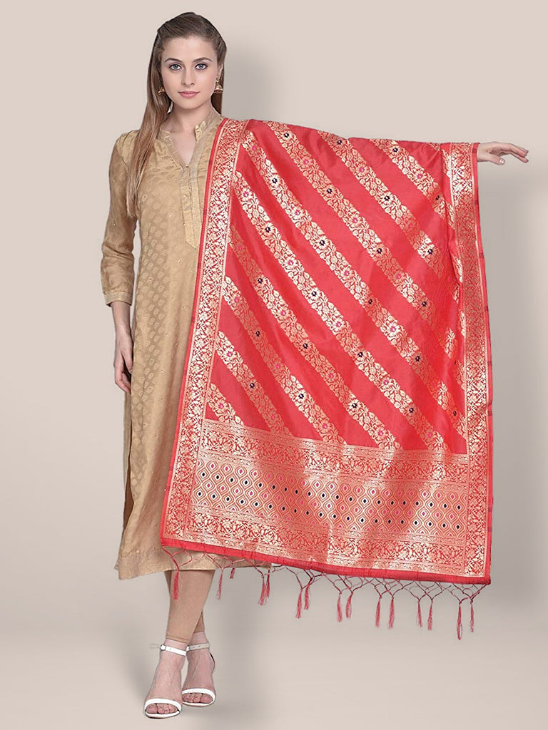 Dupatta Bazaar Woman's Red Banarasi Silk Dupatta with floral design.