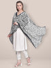 Embroidered Black & White Chiffon Dupatta