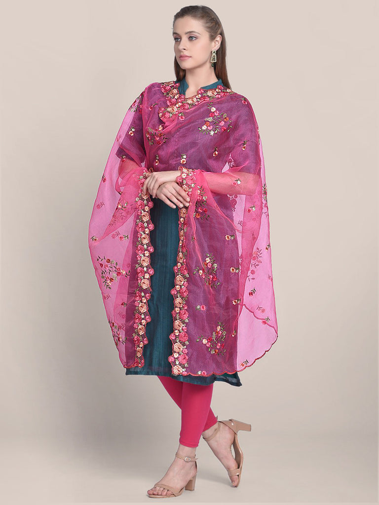 Pink Organza Dupatta with Multicolor Floral Embroidery