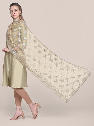 Dupatta Bazaar Woman's Gold Net Dupatta with Gotta Work.