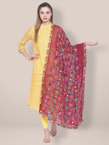 Woman's Maroon Phulkari Dupatta with mirror work