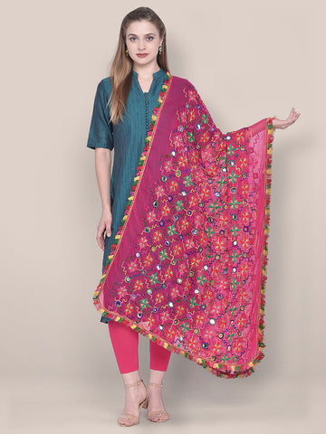 Pink Phulkari Chiffon Dupatta with mirror work