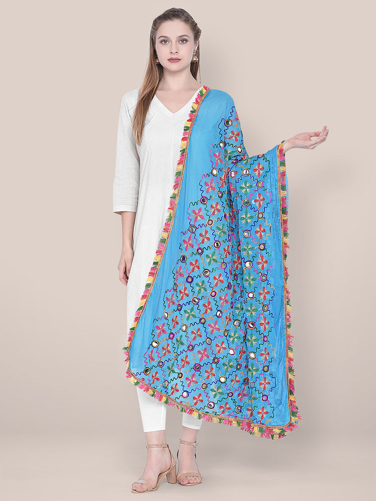 Turquoise Blue Phulkari Dupatta with mirror work