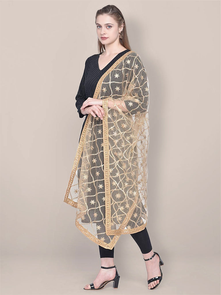 Embroidered Gold Net Dupatta.