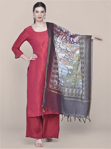 Dupatta Bazaar Woman's Digital Printed Multicoloured Silk Dupatta