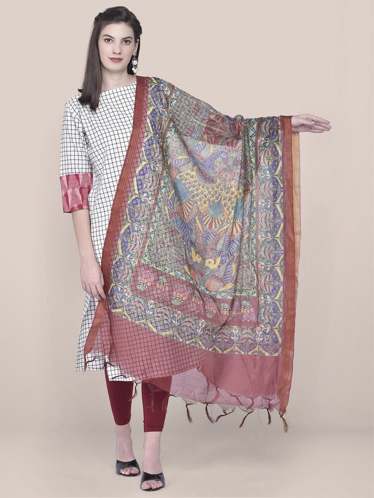 Digital Printed Maroon Silk Dupatta