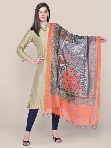 Dupatta Bazaar Woman's Digital Printed Orange Silk Dupatta