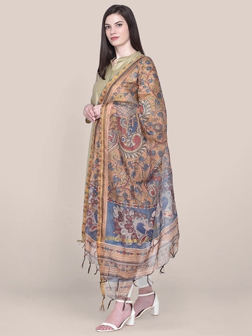 Dupatta Bazaar Woman's Digital Printed Brown Silk Dupatta