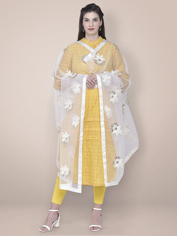 Embroidered Sequence Work White Net dupatta