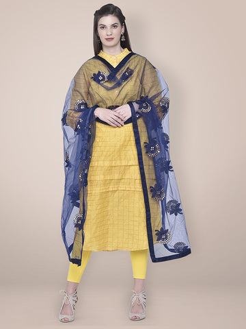 Embroidered Sequence Work Navy Blue Net dupatta