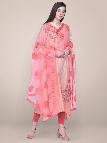 Embroidered Sequence Work Coral Net dupatta