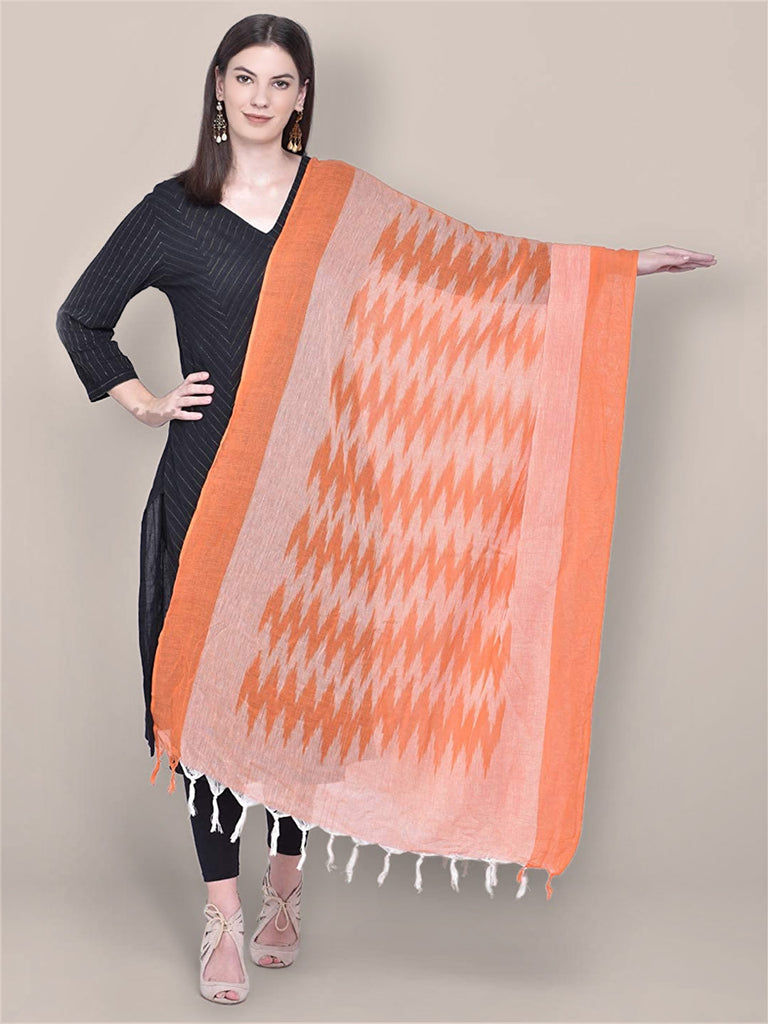 Orange Cotton Ikat Dupatta