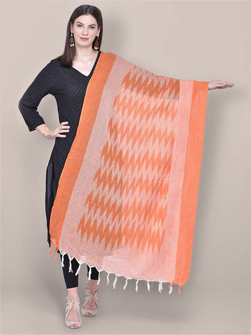 Dupatta Bazaar Woman's Orange Cotton Ikat Dupatta