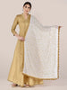 White Chiffon Dupatta with Gold Embroidery