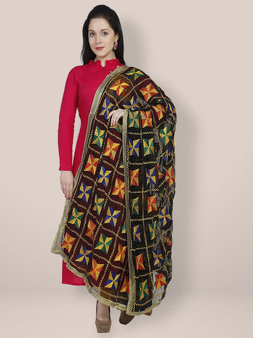 Punjabi Phulkari Black and Multicoloured Embroidery Chiffon Dupatta