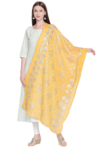 Dupatta Bazaar Woman's Yellow Chiffon Dupatta with Gotta Work - Dupatta Bazaar