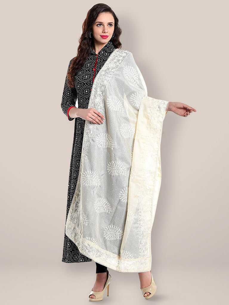 Ivory Embroidered  Cotton Kota Doria dupatta