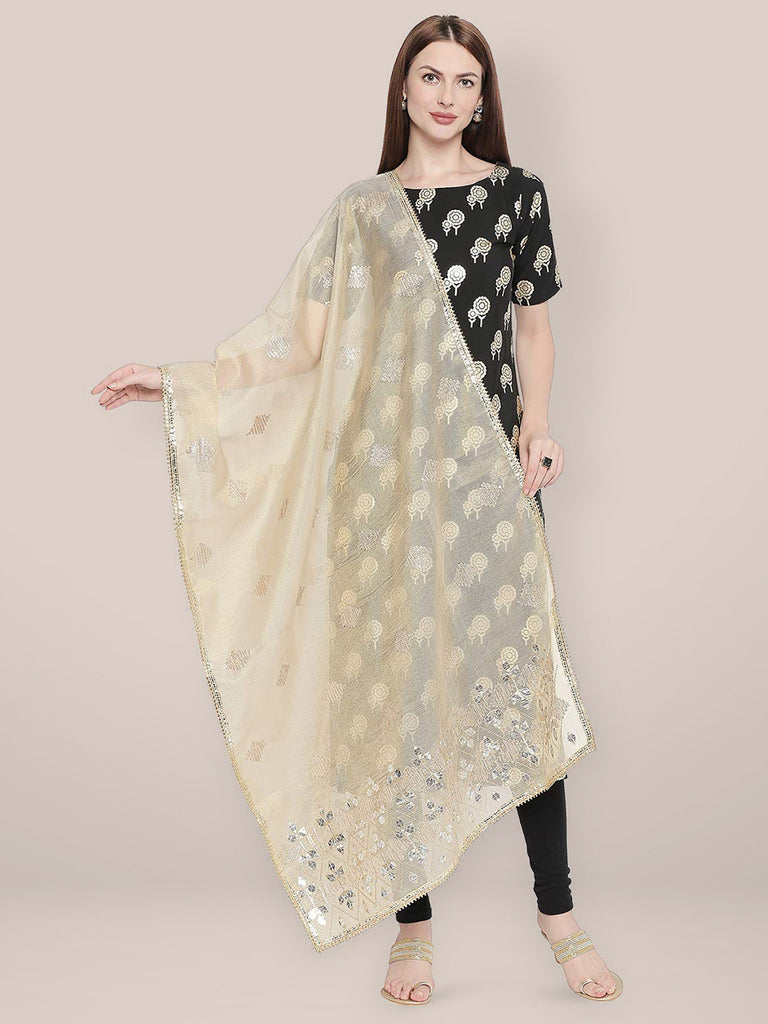 Gold Cotton Silk dupatta with Gotta Patti Work.