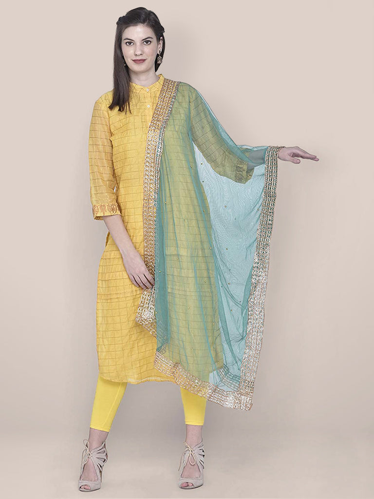 Embellished Green Net Dupatta