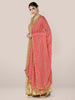 Coral Chiffon Dupatta with Gold Embroidery