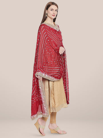 Maroon Bandhini Silk dupatta with Gotta Patti Border.