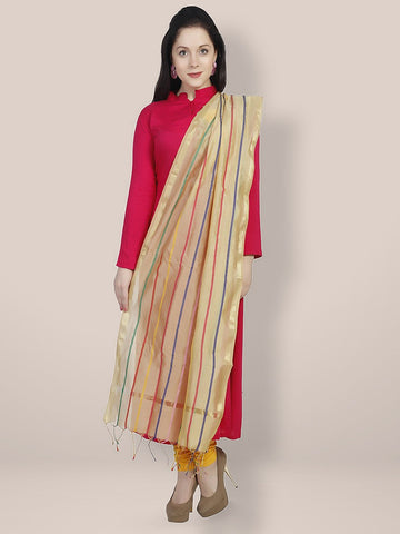Dupatta Bazaar Women's Beige & Multicoloured Striped Cotton Silk Dupatta