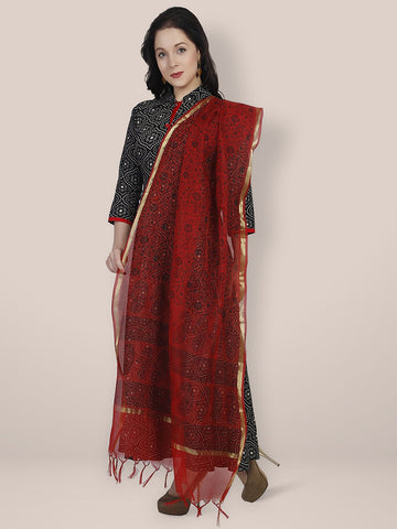 Dupatta Bazaar Women's Printed Red & Black Cotton Silk Dupatta