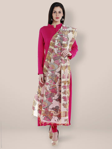 Dupatta Bazaar Woman's Cotton Silk Printed Pink Dupatta