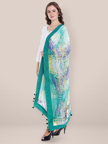 Dupatta Bazaar Women's Digitally Printed Green Georgette Dupatta with Pom Pom Border.