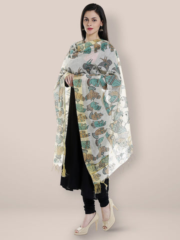 Dupatta Bazaar Woman's Cotton Silk Printed Beige & Blue Dupatta