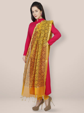 Dupatta Bazaar Women's Printed Yellow & Black Cotton Silk Dupatta